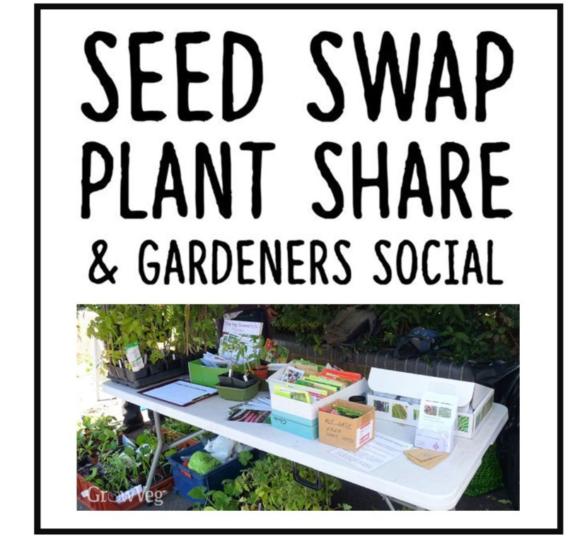 Photo depicitng a Seed Swap Plant Share and Gardeners Social