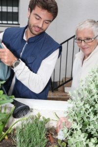 Senior mother and adult son smiling and watering an elevated herb garden.