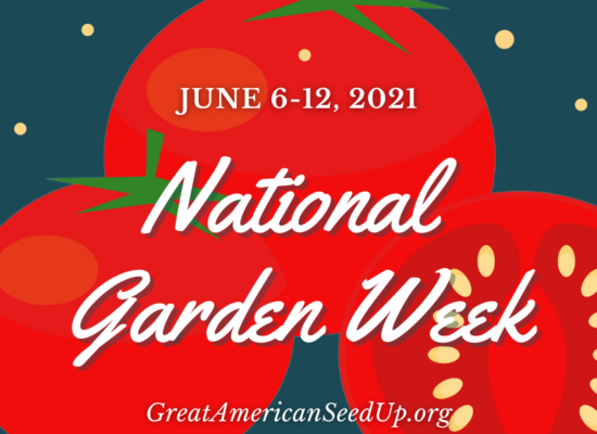 Graphic promoting National Garden Week June 6-12, 2021 with tomatoes on a teal blue background